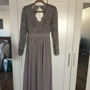 Backless lace grey dress